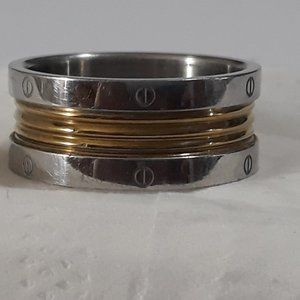 Vintage Stainless Steel Gold Wedding Band Size 11